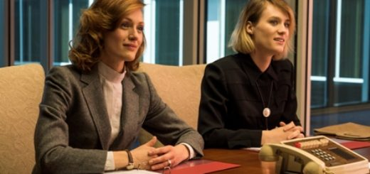 Kerry Bishe as Donna Clark, Mackenzie Davis as Cameron Howe; group - Halt and Catch Fire _ Season 3, Episode 2  - Photo Credit: Tina Rowden/AMC